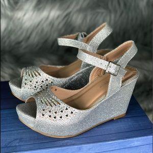 Women's Open Toe Platform Wedge Heels.